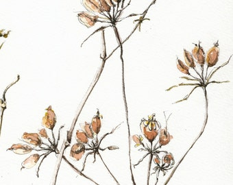 ORIGINAL Plants watercolor painting
