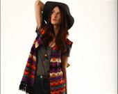 Desert Vagabond Bold Geometric Ethnic Print Fringe Sweater Vest--M