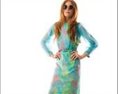 Palm Springs Pastel Sheer Sleeve 60's Mad Men Dress---S