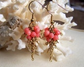 Coral and Gold Earings