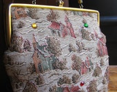 Vintage Tapestry Handbag Purse with Lucite Handle