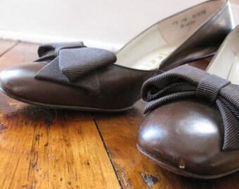 Vintage Brown Leather Palizzio Heels 1960s