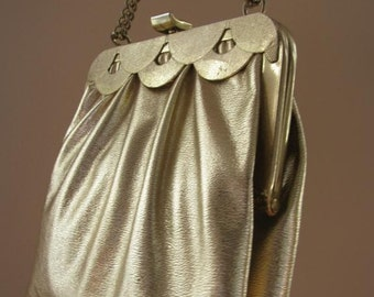 Vintage Gold Small Evening Bag Purse 1970s