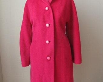 Designer Ladies Bright Pink Wool Coat by Dumas