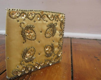 Vintage Gold Sequined and Beaded Wallet 1950s