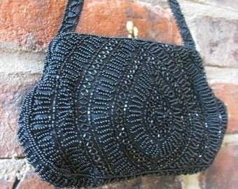 Vintage Black Beaded Evening Bag by Walborg, West Germany