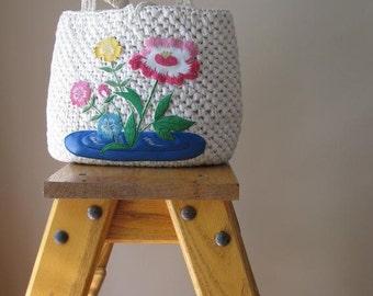Vintage Grandma Crocheted Straw Bag Purse by Magid