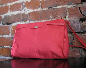 Vintage Red Canvas Shoulder Bag Purse