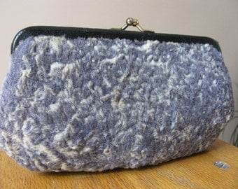 "Vintage ""Wooly"" Small Clutch Handbag or Makeup Case"