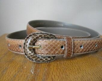 Vintage Brown Snakeskin Belt