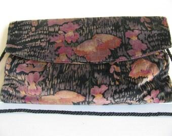 Vintage Velveteen Clutch or Shoulder Bag Purse