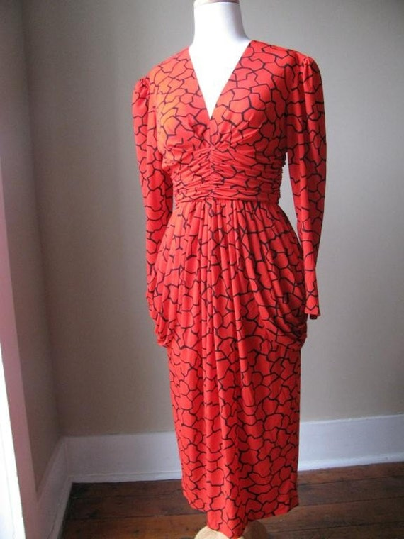 Designer 1980s Red and Black Dress by Rimini, Size 6