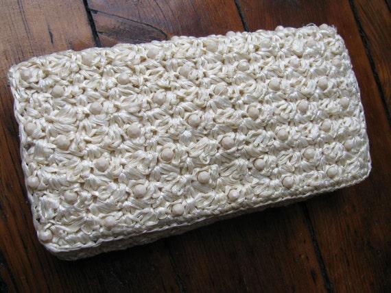 Vintage Crocheted Straw Rafia Clutch Bag
