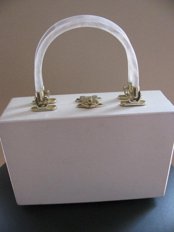 Vintage White Wooden Purse with Lucite Handles