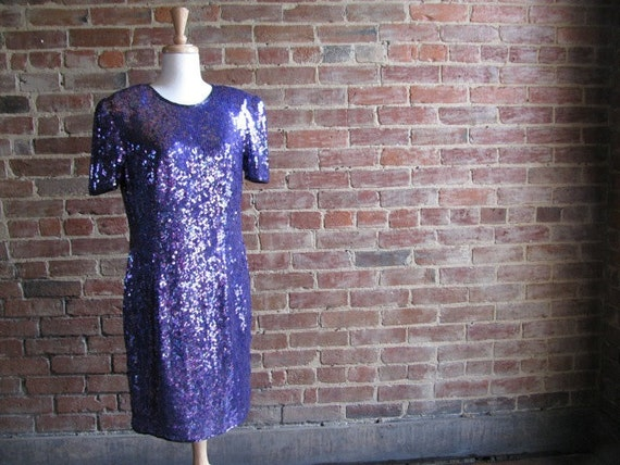 Vintage 80s Sequined and Silk Party Dress by Joan Leslie, Size 14