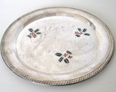 Vintage Silver Merry Christmas Tray