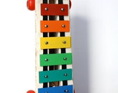 Vintage Fisher Price RAINBOW Pull Along Xylophone