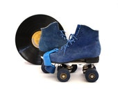 Vintage 70's BLUE Suede Leather Roller Skates Size 6