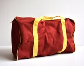 Vintage Small Size MAROON & Yellow  Duffle Bag