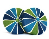 Vintage RETRO Blue and Green Peppermint Knit Pillows