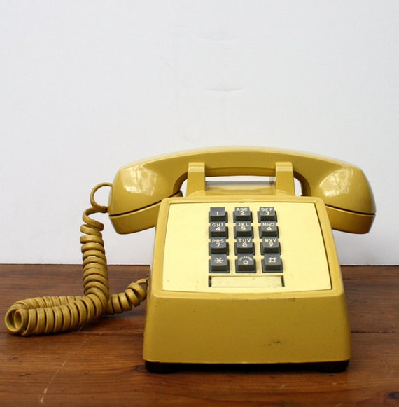 Vintage MUSTARD Yellow Bell System Push Button Phone