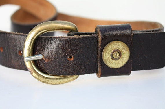 vintage unisex leather belt with shotgun shell by aniandrose