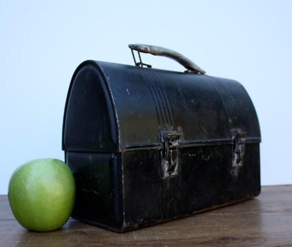 Vintage Industrial Black METAL Lunch Box