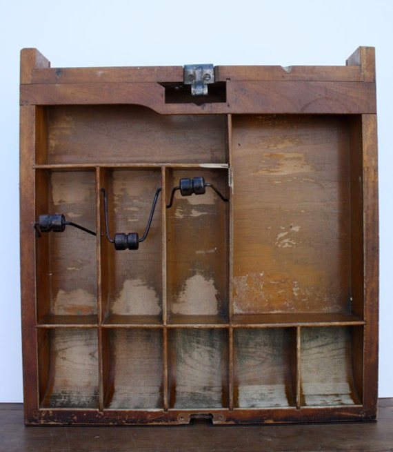Vintage WOOD Cash Drawer Cabinet with Dividers
