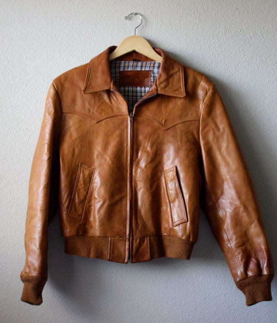 Vintage William Barry Brown Leather Jacket Mens 42 by aniandrose