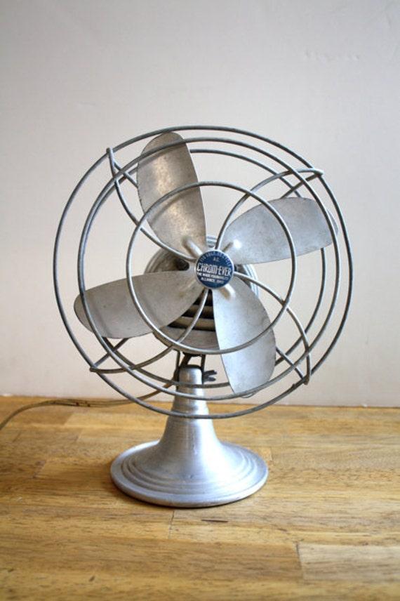 Vintage Table Fan : Vintage industrial chrome table fan