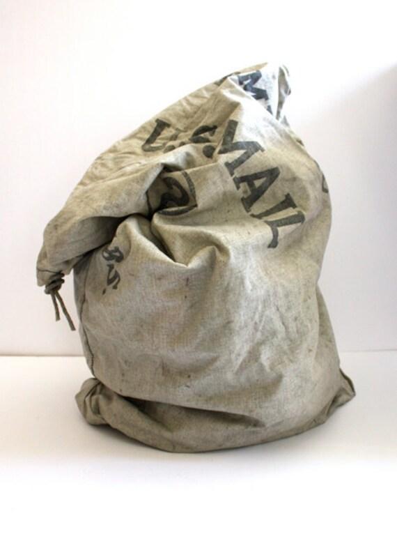 Vintage INDUSTRIAL Grey Large Mail Bag