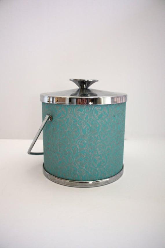 Vintage TURQUOISE Blue Ice Bucket