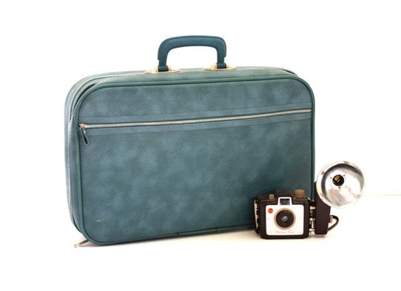 Vintage 60's Small BLUE Soft Sided Suitcase