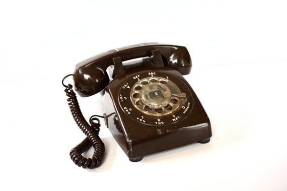 Vintage CHOCOLATE Brown Rotary Phone