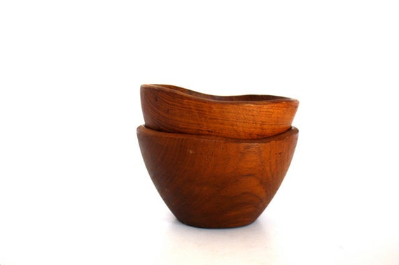 Vintage Set of WOODEN Bowls