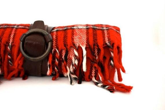 Vintage RED Plaid Picnic Blanket by Faribo