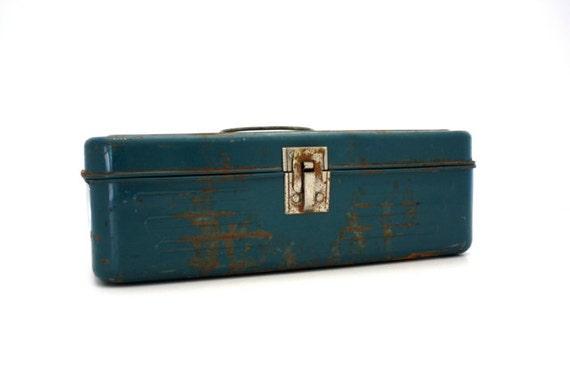 Vintage BLUE Metal Tackle Box Money Box Storage Box