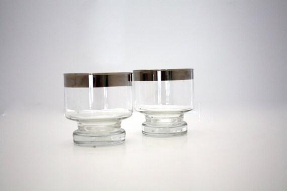Vintage 60's Silver Band  COCKTAIL Glasses Set of 2