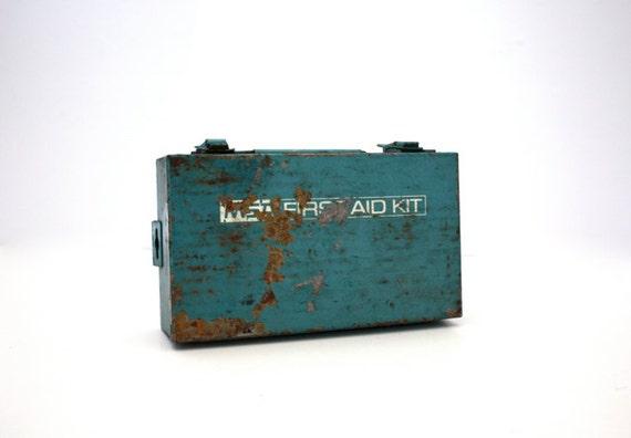 Vintage RUSTY Blue MSA First Aid Kit