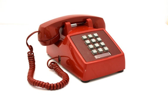 Vintage Blood RED Push Button Phone