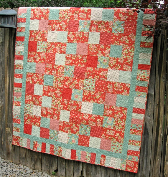 Cottage Chic Throw Quilt in Coral Red and Pale Aqua