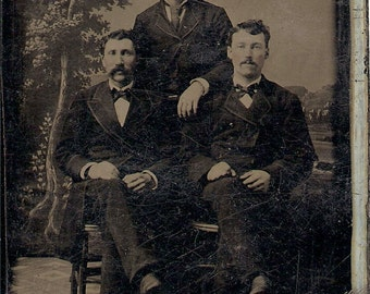 6 Tin Type Photographs, Young Gents Well Suited and Poised