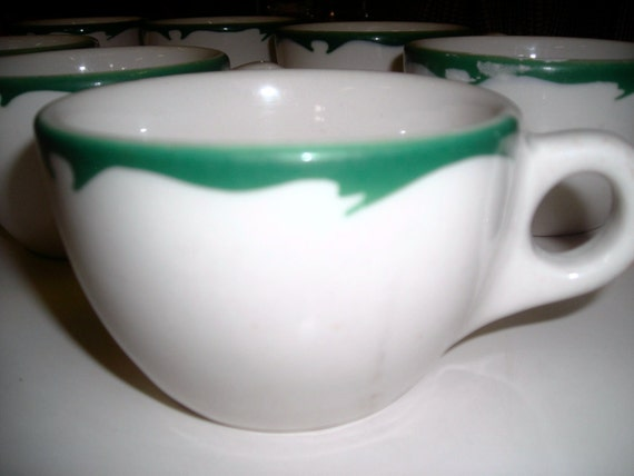 Restaurant Ware  Cups Buffalo China green trim