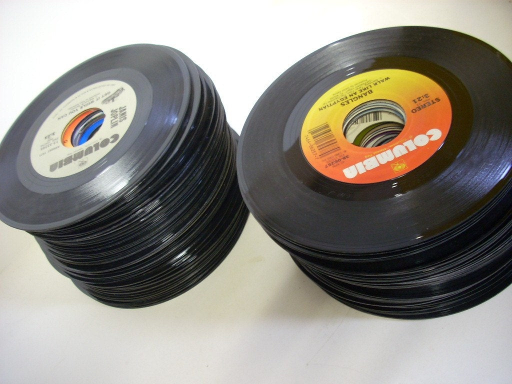 Lot Of 100 Vintage 45 S Vinyl Records For Jukebox Crafts