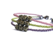 50% OFF: Summer Sunset Modern Friendship Bracelet // Lilac, Dusty Rose, and Apple Green Seed Bead Bracelet with Brass Bead Charms