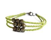 Apple Green Modern Friendship Bracelet // Apple Green Seed Bead Bracelet with Brass Bead Charms