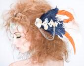 OOAK Miyu Decay Sakura Feather Fascinator, Vintage Kimono fabric, Feathers, Kuchi Tribal Button