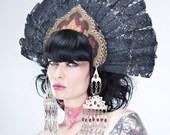 Miyu Decay OOAK Black Lace Fan Kokoshnik Headdress