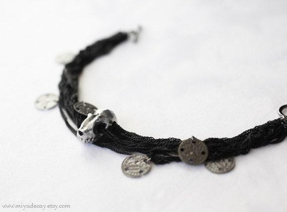 Black Chain Skull Bracelet