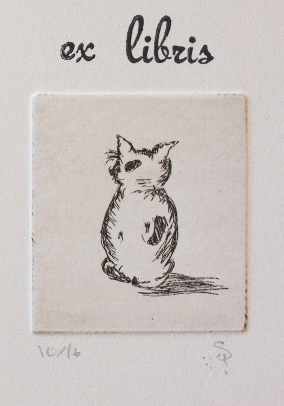 Hand Pressed Cat bookmark, signed and numbered, script font